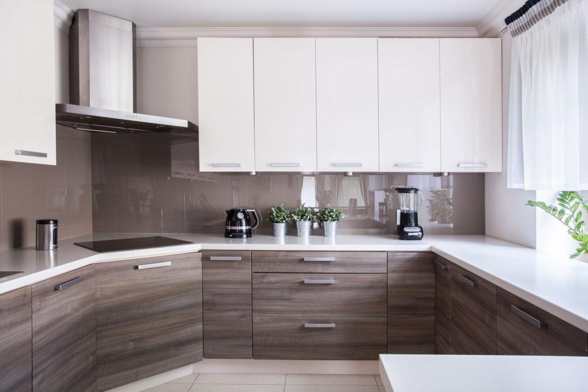41444774 - cozy beige kitchen interior with wooden cupboards